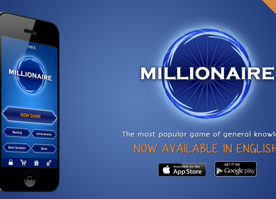Promo image for the iOS version of Millionaire. Black iPhone on the left with the game running, and logo and links to download on the left