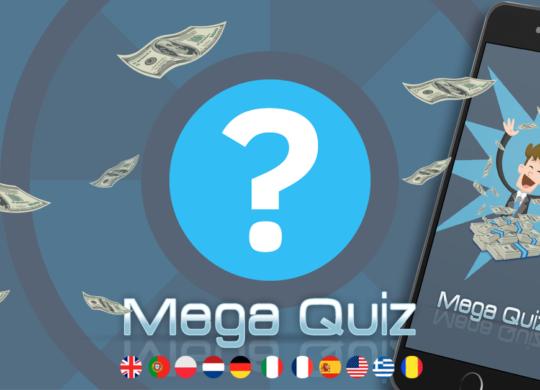 Mega Quiz promo image. Money bills flying over the image.
