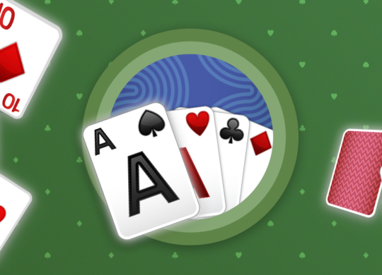 Solitaire Patience cover image. 4 cards at the cente with Ace of Spades in front. Other cards are flying around